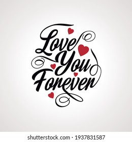 Love handwriting with elements in white and hearts illustration