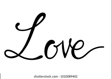 LOVE Handwritten ink lettering valentine concept, Modern brush calligraphy, Isolated on white background.
