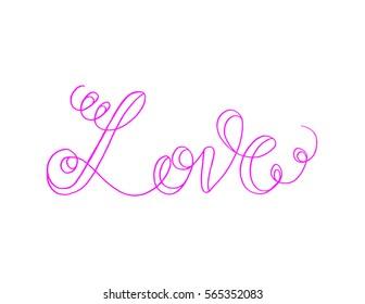 Love. handwritten lettering. Modern Calligraphy