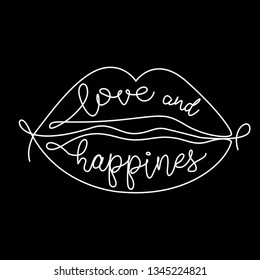 love and happiness slogan in lips created with lines.  for T-shirt printing design and various jobs, Vector.