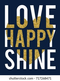 love happy slogan with gold glitter and heart vector.