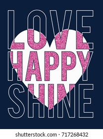 love happy slogan with pink glitter and heart vector.