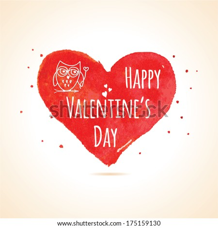 Love happy valentines day greeting card stock vector royalty free happy valentines day greeting card with owl watercolor red heart on white background m4hsunfo