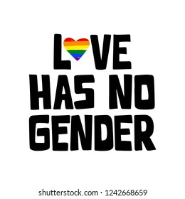 Love has no gender. Hand drawn lettering phrase with rainbow heart. Gay concept. LGBT community. For poster, card, web design. Vector illustration isolated on white background