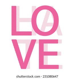 Love Hate girl typography, t-shirt graphics, vectors