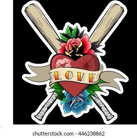 Love and Hate Print Baseball-Bat Roses Ribbon Heart