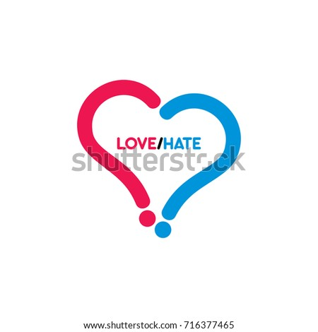 Love Hate Symbol Question Mark Logo Stock Vector Royalty Free