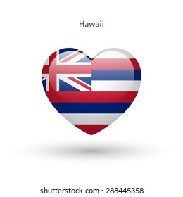 Love Hawaii state symbol. Heart flag icon. Vector illustration.