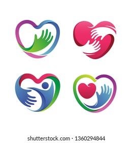 Love Health Care Set Logo Vector