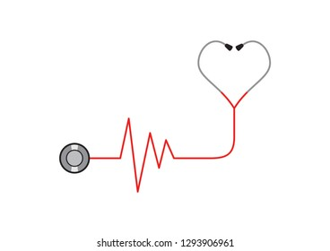 Love of health, heart health concept design. Red and black stethoscope with heart beat monitor and heart-shaped ear pieces. White background