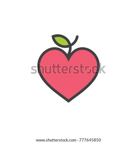 Love Heart Apple Fruit Symbol Logo Stock Vector Royalty Free