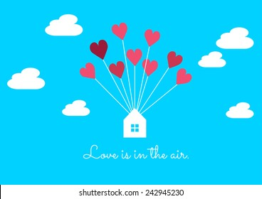 Love heart balloon and house in the blue sky romance Valentine's card background vector