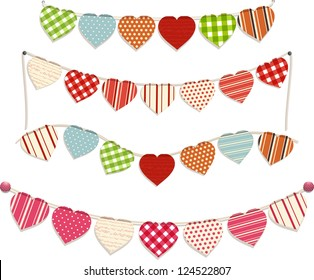 love heart bunting set on white