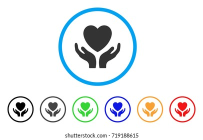 Love Heart Care Hands rounded icon. Style is a flat love heart care hands grey symbol inside light blue circle with black, gray, green, blue, red, orange color versions.