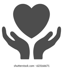 Love Heart Care Hands vector icon. Illustration style is a flat iconic gray symbol on a white background.
