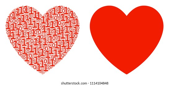 Love heart collage icon of zero and null digits in variable sizes. Vector digit symbols are composed into love heart illustration design concept.