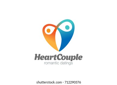 Love Heart Couple Hug Logo design vector template. Romantic Dating Valentines day Logotype concept icon.