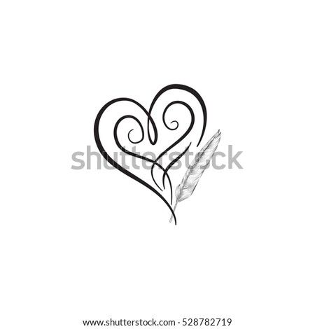 Love Heart Drawn By Feather Pen Stock Vector Royalty Free