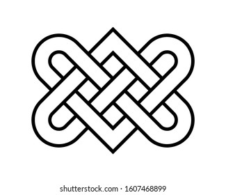 Love Heart Endless Knot Vector Graphic Illustration Isolated on White