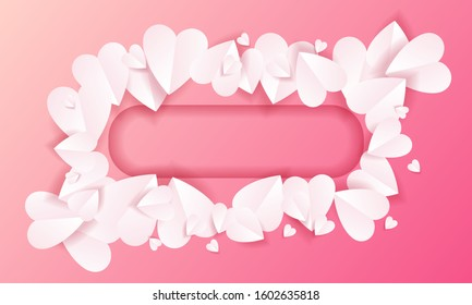 Love heart frame background textures with paper cut style. Romantic backdrop for valentine's card, wedding invitation, gift, title and name. Blank vector illustration.