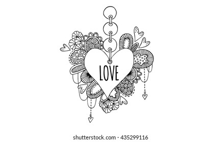 Love Heart Hand Drawn Doodle Vector Black and White Love heart doodle illustration with the word love, hearts, swirls and abstract shapes.