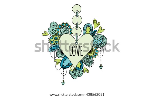 Love Heart Hand Drawn Doodle Vector Colorful hanging love heart doodle illustration with the word love, hearts, swirls and abstract shapes.