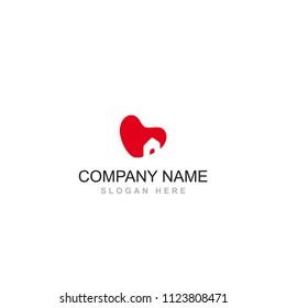 love heart home property house shape vector logo design element