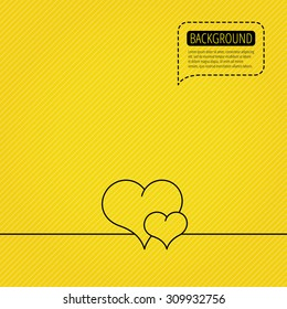 Love heart icon. Couple romantic sign. Speech bubble of dotted line. Orange background. Vector