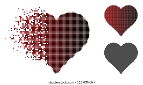 Love heart icon in dissolved, pixelated halftone and undamaged entire versions. Points are grouped into vector disappearing love heart shape.