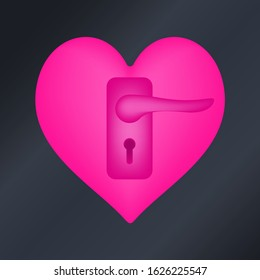 Love heart icon with door handle door knob keyhole. Romantic love heart isolated on minimal black background. Valentine sign symbol shape. Vector illustration.
