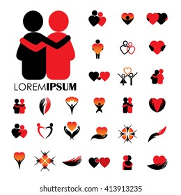 love and heart intimacy and empathy vector logo icons.