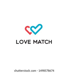 Love Heart Match Check Find Right Relationship Dating App Vector Abstract Illustration Logo Icon Design Template Element