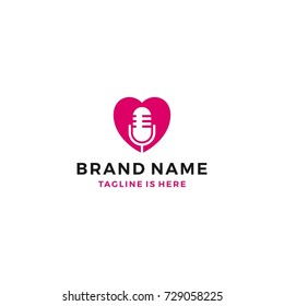 love heart mic podcast live show broadcast logo template vector icon