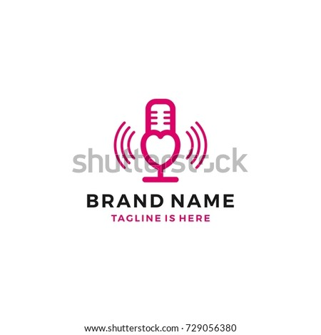 love heart mic podcast live show stock vector royalty free
