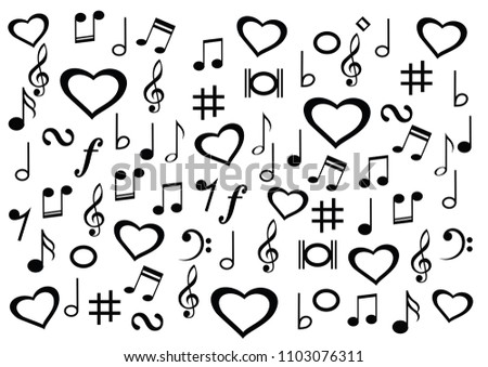 Love Heart Musical Symbol Music Note Stock Vector Royalty Free