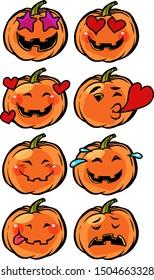 love heart passion confusion Emoji Halloween pumpkin set collection. comic cartoon pop art retro vector illustration drawing