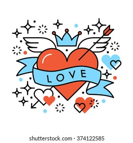 Love heart romantic hipster composition. Saint Valentines day greeting card template. Line illustration on white background.