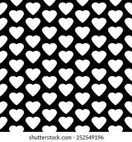 Love heart seamless pattern on black background.