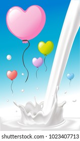 love heart shape colorful valentines balloon cartoon fly on blue sky over milk splash design - vector illustration