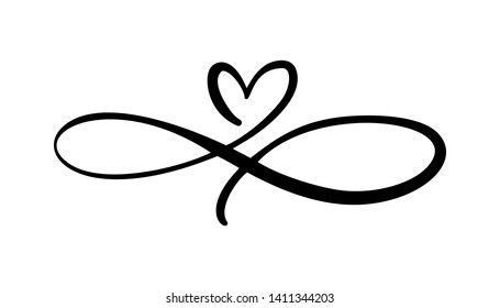 Love heart In the sign of infinity. Sign on postcard to Valentines day, wedding print. Vector calligraphy and lettering illustration isolated on a white background