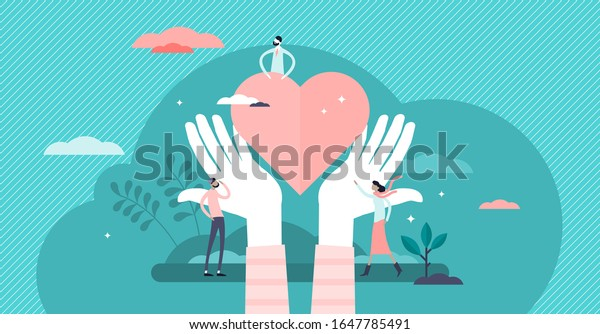 Love heart symbol with holding hands, flat tiny person vector illustration. Charity and volunteering activity concept. Social support and awareness campaign. Abstract hope and protection artwork.