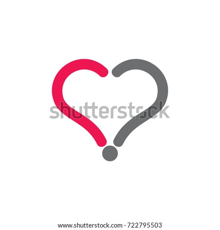Love Heart Symbol Question Mark Logo Stock Vector Royalty Free