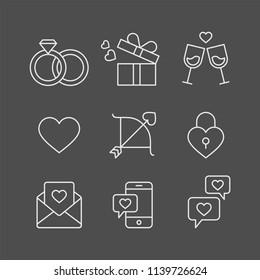 Love, heart, valentine day, wedding flat vector icons set