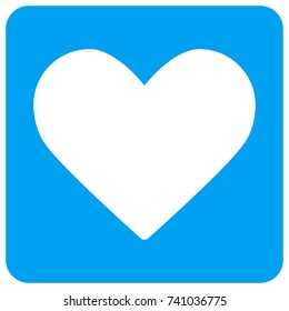 Love Heart vector icon. Image style is a flat icon symbol perforated in a blue rounded square shape.