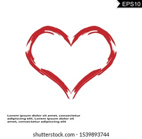 Love heart vector isolated on white background