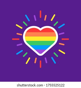 Love is love hearth rainbow spectrum pride flag, isolated on white. LGBT rights concept. Modern poster design.