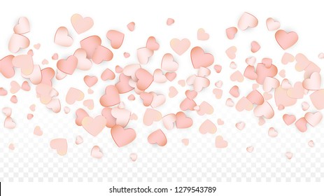 Love Hearts Confetti Falling Background. St. Valentine's Day pattern Texture. Element of Design for Cards, Banners, Posters, Flyers for Wedding, Anniversary, Birthday Party, Sales.