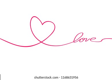 Love with hearts in continuous drawing lines in a flat style in continuous drawing lines. Continuous black line. The work of flat design. Symbol of love and tenderness