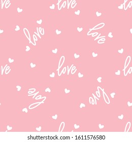 Love and hearts on pink. Seamless pattern