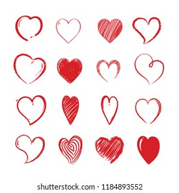 Love hearts shapes. Decorative valentines day lovely hand drawn vector red symbols for design projects